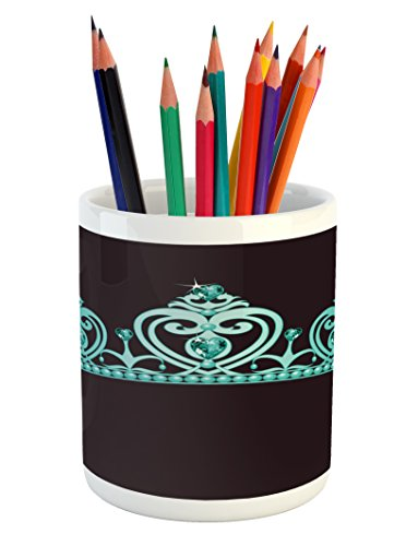 Lunarable Princess Pencil Pen Holder, Fairytale Character Costume Tiara Crown with Vibrant Heart Figures Girls Kids Theme, Printed Ceramic Pencil Pen Holder for Desk Office Accessory, Turquoise -