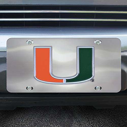 - FANMATS NCAA Miami Hurricanes Die Cast License Platedie Cast License Plate, Chrome, 6