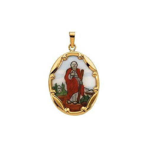 PicturesOnGold.com 14K Gold and Porcelain Saint Jude Religious Medal - Solid 14k Yellow Gold 1 in X 3/4 in (25.0mm X 19.5mm) -