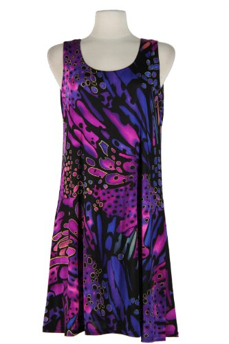 Jostar Stretchy Missy Tank Dress with Print in Abstract Design (Abstract Design Dress)