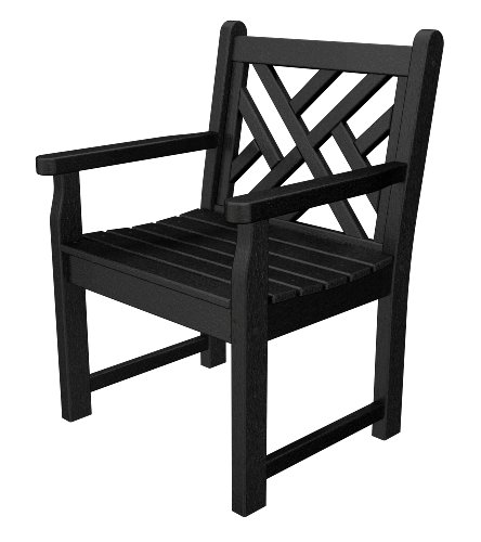 Chippendale Garden Bench - POLYWOOD CDB24BL Chippendale Garden Arm Chair, Black