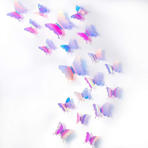 Espejos mariposas 3D 48 unidades arcoiris