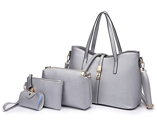 Tibes Fashion Women's PU Leather Handbag+Shoulder Bag+Purse+Card Holder 5pcs Set Satchel Silver