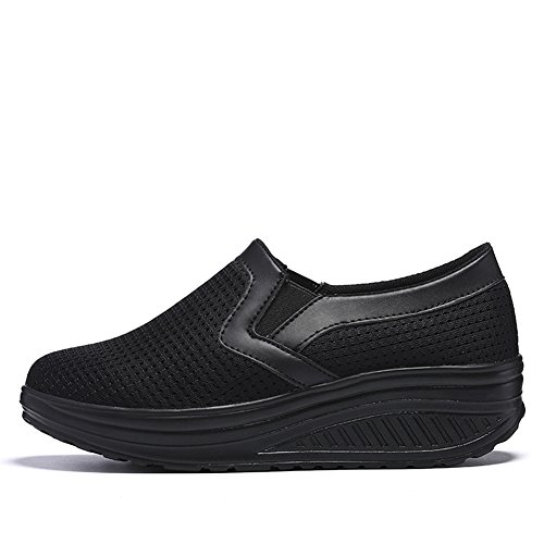 LUWELL Women's Walking Shoes Mesh Slip-On Platform Shoes Work Out Sneakers Women Shape Up Shoes