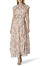 Women's Flutter Sleeve Tie Waist Maxi Dress