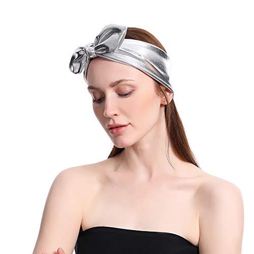 Wide Headband for Women Girls Knotted Hair Band Bow Head Wrap Non Slip Criss Cross Hairdress PU Turban Hair Accessory for Yoga, Sport, Beach (Silver) -