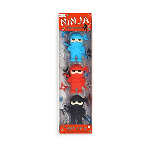 Ooly Ninja Erasers - Set of 3 - Blue, Red, and Black Colors - 1.75 Tall