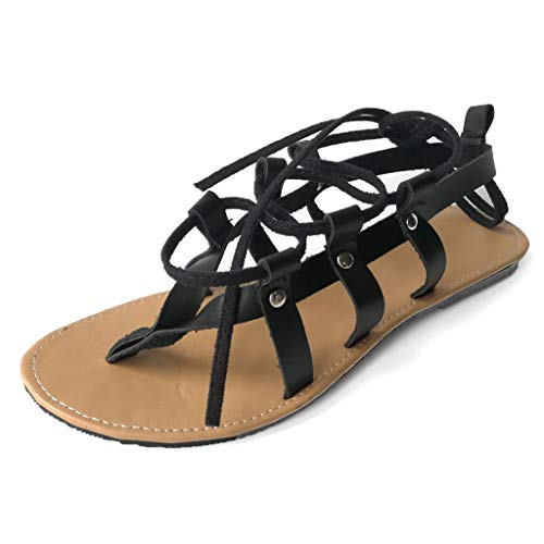 Aunimeifly Summer Ladies Cross Lace Up Gladiator Flat Women Ankle Strappy Open Toe Sandals Casual Shoes Black