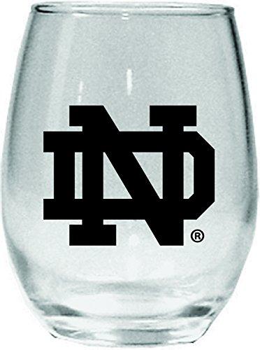 NCAA Notre Dame Fighting Irish 15 oz Stemless Wine Glass with Black Team Logo