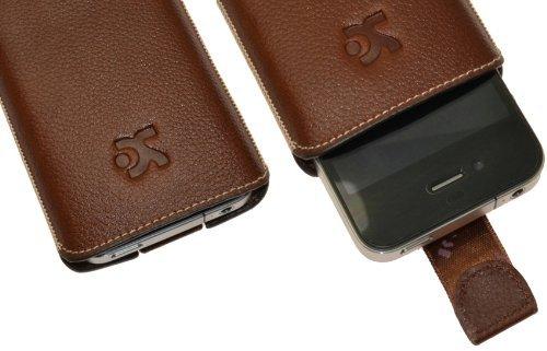 Original Suncase Echt Ledertasche (Lasche mit Rückzugfunktion) für iPhone 4 / iPhone 4S vollnarbiges-braun