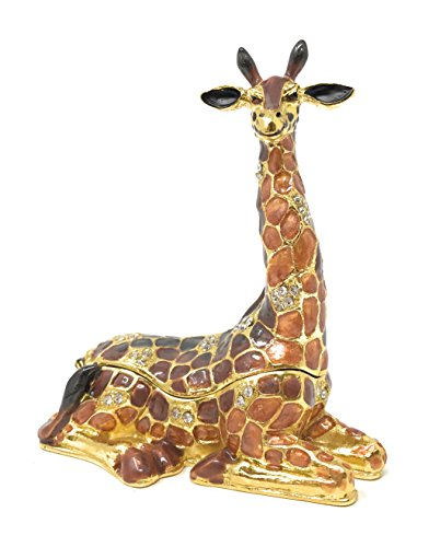 Kubla Craft Enameled Safari Giraffe Trinket Box by, Accented with Austrian Crystals, 3.5T - Enameled Giraffe