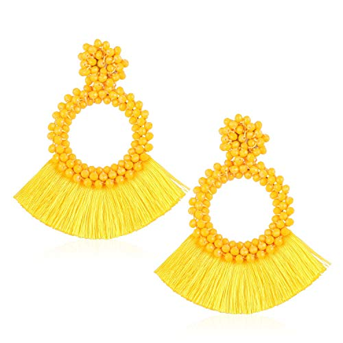 - Tassel Bead Statement Earrings for Women Girls Handmade Bohemian Beaded Hoop Round Thread Fringe Dangle Trendy Light Studs Stud Jewelry Accessory Gift for Ladies with Gushion Present Box GUE130 Yellow