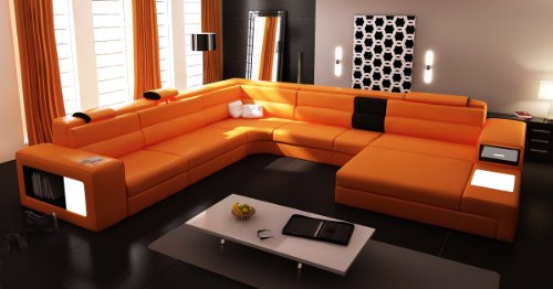 VIG Furniture 5022 Polaris Orange Bonded Leather Sectional (Italian Leather Beds)