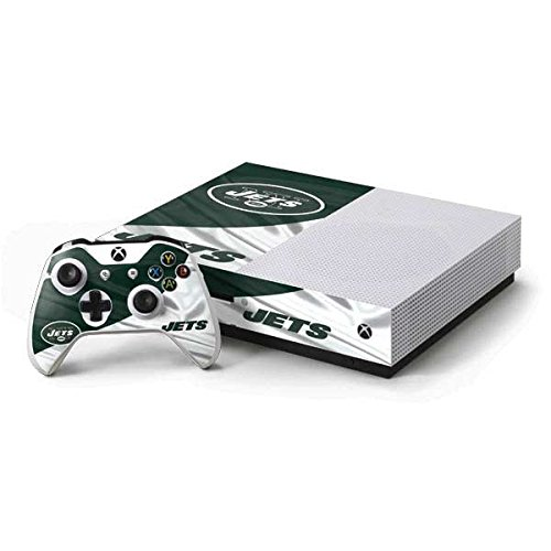 (Skinit NFL New York Jets Xbox One S Console and Controller Bundle Skin - New York Jets Design - Ultra Thin, Lightweight Vinyl Decal Protection )