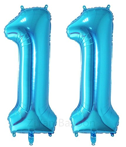 ZIYAN 40 Inch Giant 11th Blue Number Balloons,Birthday / Party Balloons