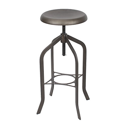 Adeco Retro Swivel Adjustable Metal Counter Stool Barstool