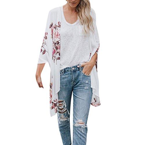 - TOTOD Women Tops Fashion Womens Chiffon Shawl Print Kimono Cardigan Top Cover Up Blouse Beachwear
