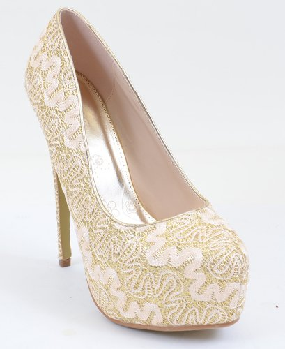 Lace Overlay Glitter Almond Toe Stiletto Platform Pump Gold X2BOv