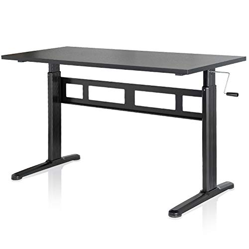 EleTab Manual Height Adjustable Standing Desk with 55 x 24 inches Tabletop Stand up Desk Frame and Desktop Workstation with Crank System (Adjustable Height Table Crank)
