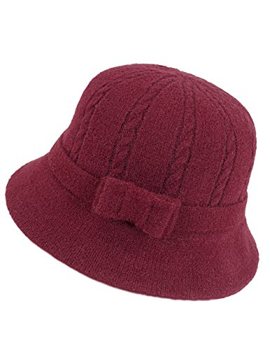 Flapper Hat In Red (Dahlia Women's Wool Blend Winter Hat - Cable Bow Cloche Bucket Hat - Red)