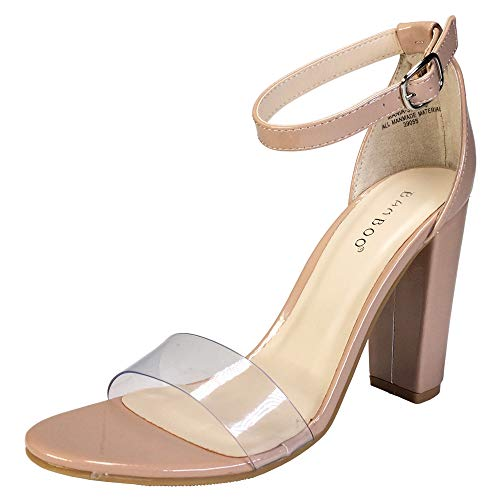 BAMBOO Women's Single Band Chunky Heel Sandal with Ankle Strap, Clear PVC with Nude Patent PU, 8.5 B US
