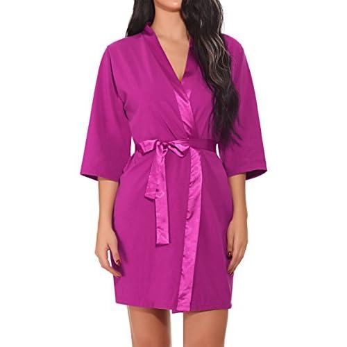 BMAKA Women's Kimono Bath Robe Cotton Loungewear With Stain Belt for cheap