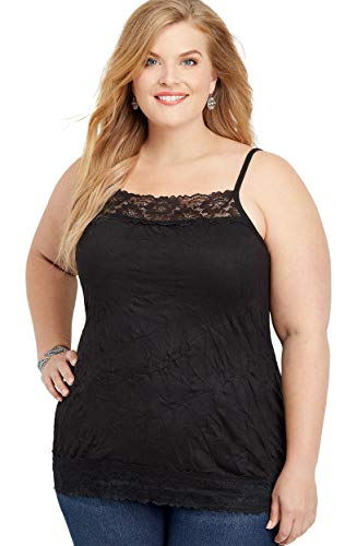maurices Women's Plus Size Solid Lace Crinkle Cami 2 Active Black