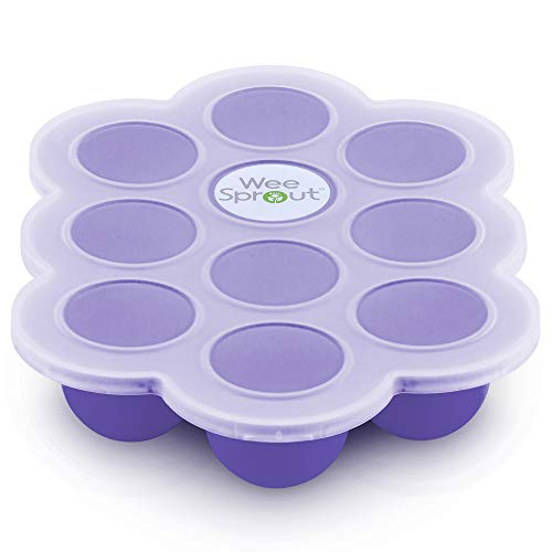 Silicone Baby Food Freezer Tray with Clip-on Lid by WeeSprout - Perfect Storage Container for Homemade Baby Food, Vegetable & Fruit Purees and Breast Milk - BPA Free & FDA Approved (Ice Frostbite)