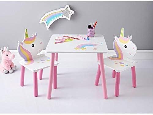 Enchanted Unicorn Juego de Muebles de Mesa de Unicornio para niños, Color Rosa y Blanco: Amazon.es: Hogar