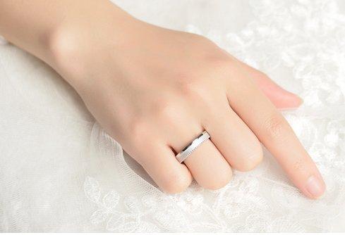 Gowe 0,13CT Diamant Certifié Or blanc Mariage Bands18K (au 750) Homme et Femme Mariage Bague