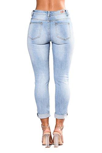 In Skinny Elastico Vita A Pantaloni I Arrotolare Ricamo Donna Alto Alta Legging Dunland Delle Eleganti Fiori Jeans Sexy pqxvX4wS0