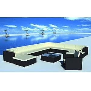 SKB Family 35 Piece Garden Lounge Set Black Poly Rattan Outdoor
