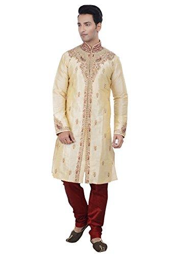 Rajwada Ethnic Indian Design Gold Kurta Sherwani for Men 2pc Suit (L (40)) (Best Indian Suits Design)