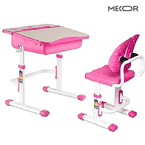 Mecor Child Desk and Chair Set,Kids Study Table Wood Grain Inclined Tabletop Large Drawer Storage,Student School Desk Set/Ergonomic Winged Backrest Chair Pink