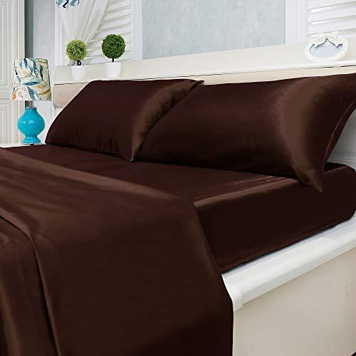 Natural Life Home 4 Piece Satin Sheet Set, Queen, Coffee (Silk Brown Sheets)