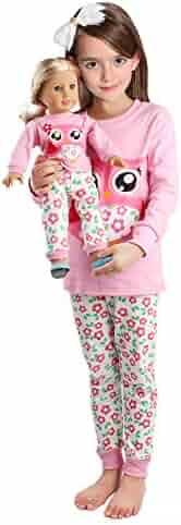 Babyroom Girls Matching Doll&Toddler Owl 4 Piece Cotton Pajamas Kids Clothes Sleepwear