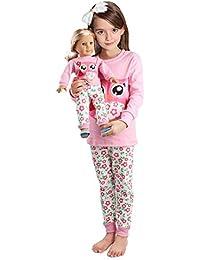 Girls Matching Doll&Toddler Owl 4 Piece Cotton Pajamas...