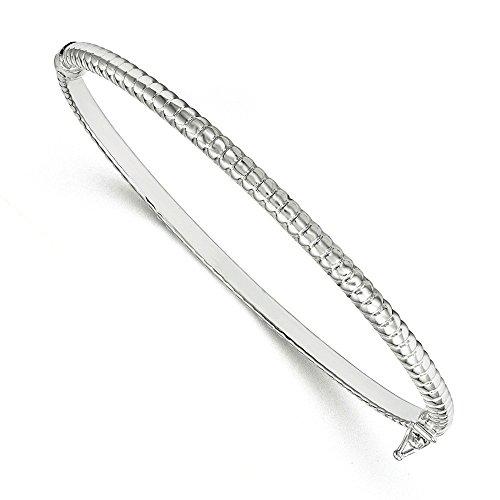 Or blanc 14 carats effet poli Bracelet Bracelet-JewelryWeb