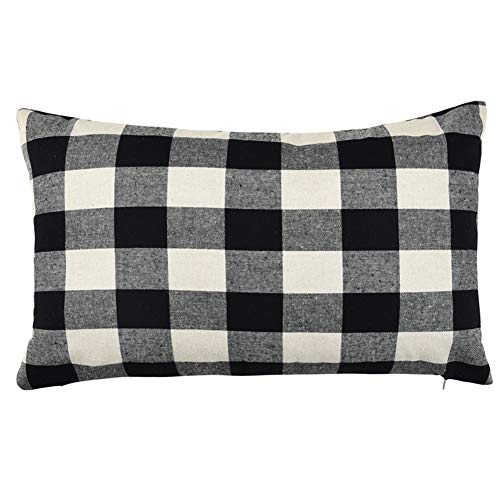 Pillow Checkered (WFLOSUNVE Checkered Plaids Pillow Cover, Soft Retro Buffalo 100% Solid Cotton Decorative Throw Pillowcase Cushion Case for Couch and Sofa 12x20 Inch (Beige and Black))