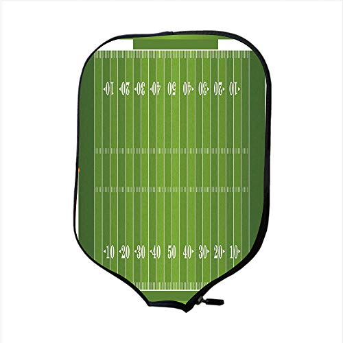 Neoprene Pickleball Paddle Racket Cover Case,Football,Sports Field in Green Gridiron Yard Competitive Games College Teamwork Superbowl,Green White,Fit for Most Rackets - Protect Your Paddle