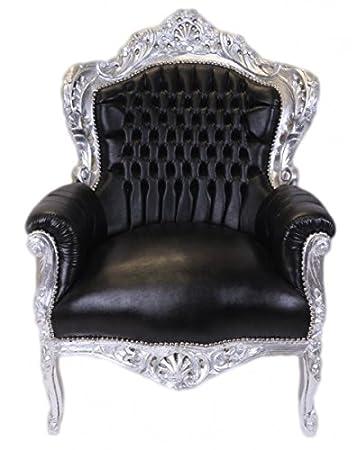 Casa Padrino Barock Sessel King Schwarz Silber Lederoptik Mobel