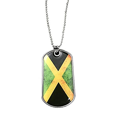 International Charms Dog Tags of the World Jamaican Flag Stainless Steel Necklace Olympic Pendant FIFA Pendant and Key Ring (Dog Tag Chain Packs)