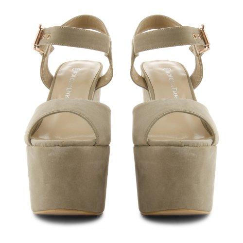 Footwear Sensation - Sandalias de vestir de sintético para mujer Beige - Beige Suede
