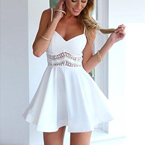 moda V encaje mujer V sin mujeres de cuello y mangas atractivo en para hueco del en del con vestidos Vestido las cuello blanco OHQ de Vestido ahuecado verano zwXU0OFX