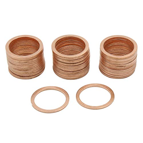 X AUTOHAUX 18mm Inner Dia Copper Crush Washers Flat Car Sealing Plate Gaskets Rings 50pcs by X AUTOHAUX (Image #3)
