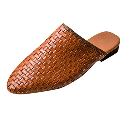 zitan Summer Women's Sandals Retro Buckle-Strap Sandals Flat Bottom Ladies Shoes Flat/Heels Sandals for Girls Sexy Slip-On Rome Style Sandals Brown