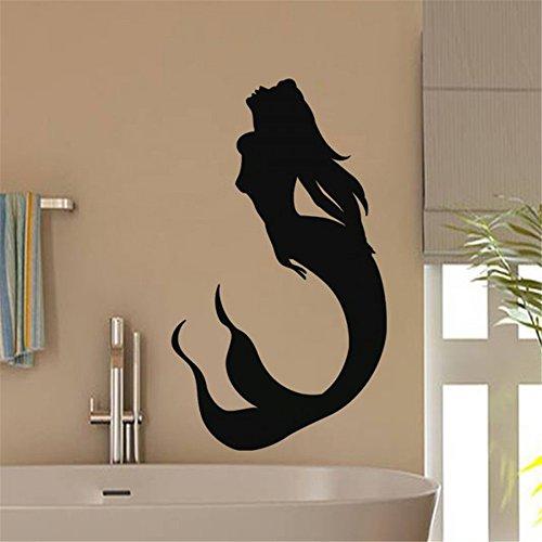 - kinmes Vinyl Peel and Stick Mural Removable Wall Sticker Decals Mermaid for Bathroom Bathtub Toilet