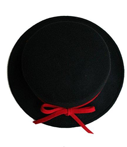 Acvip Voyage Taille En Femme Laine Noir Nœud Chapeau Fedora Avec Papillon Unique qHWFx1aZwq