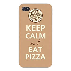 Apple Iphone Custom Case 4 4s White Plastic Snap on - Keep Calm and Eat Pizza