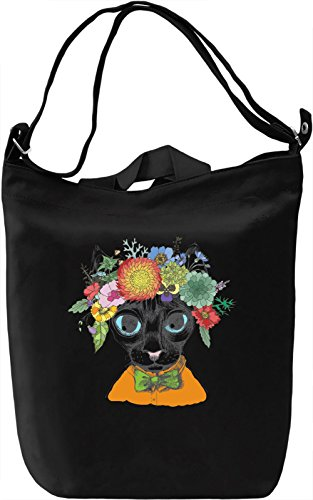 Cat With Flower Crown Borsa Giornaliera Canvas Canvas Day Bag| 100% Premium Cotton Canvas| DTG Printing|